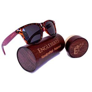 Red Bamboo Tortoise Framed Sunglasses With Case